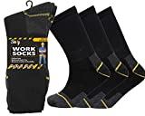 Soxy 12 Pairs Mens Heavy Duty Work Socks Shoe Size 6-11 Safety/Steel Toe Boot Socks, Black, 6/11/2020