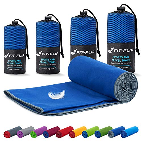 Fit-Flip Microfaser Handtücher Set – 18 Farben, viele Größen – Ultra leicht & kompakt – das perfekte Sporthandtuch, Strandhandtuch und Saunahandtuch (40x80cm, Dunkelblau - Grau)