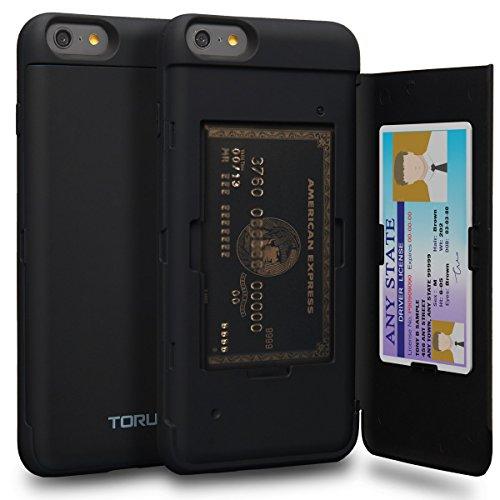 TORU CX Pro Funda iPhone 6S Plus Carcasa Cartera con Tarjetero Oculto y Espejo para Apple iPhone 6S Plus/iPhone 6 Plus - Negro Mate