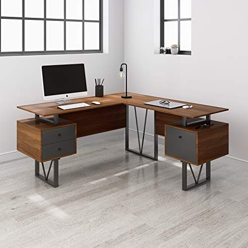 Techni Mobili Reversible L-Shape Computer Drawers and File Cabinet Home Office Desk, Walnut