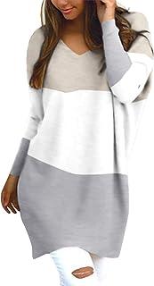 Style Dome Jerseys de Punto Mujer Largos Sudadera Casual Cuello V Manga Larga Otoño Vestidos Plus Tamaño Tops Camisas Suét...