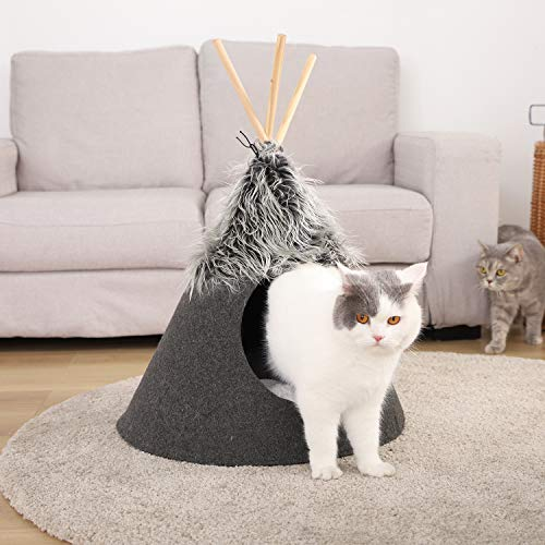 OHANA Pet Teepee Cat Bed Portable Pet Tents Houses Caves for Puppy Dog with Removable Cushion