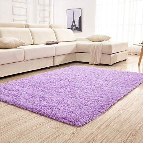 Trayosin Shaggy, tappeto a pelo lungo morbido per soggiorno, camera da letto, cameretta dei bambini, sala da pranzo, Lilla, 80 x 160 cm