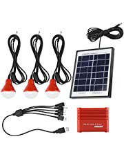 Batería de 3,7 V, energía solar, panel solar portátil, panel solar, con 3 bombillas LED, kit de iluminación de panel solar para patio, jardín, canal, camino