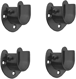 FYTRONDY Black Edition Stainless Steel Wardrobe Closet Rod Bracket, U-Shaped Open Type Socket Bracket, Shower Curtain Rod Pole End Supports Sockets Flange (1 INCH, 4 Pack)