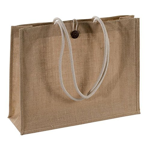Natural Jute Burlap Shopping Tote Bags with Cotton Handles Buttoned Closure Front Pocket Bags Size 18'W X 14'H X 6'