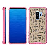 TurtleArmor | Compatible with Samsung Galaxy S9+ Case | S9 Plus Case | G965 [Flexible Armor] Slim Shockproof Hard Bumper Cover Flexible TPU Case with Pink Edges - Fishing Hooks