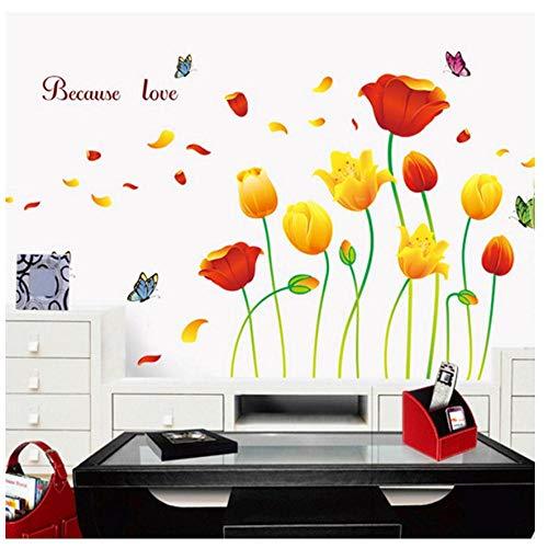 MINGKK - Adhesivo decorativo para pared, diseño de tulipanes y mariposas, multicolor