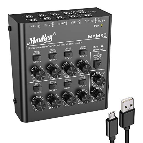 Moukey 8 Kanal DJ Mixer Mischpult, Musik Mixer tragbar, 8 Stereo Mini Audio Mixer DC 5V für kleine Clubs Bars Mikrofon Gitarre Bass Keyboard und Bühnenmixer, Ultra niedrig Noise-MAMX3