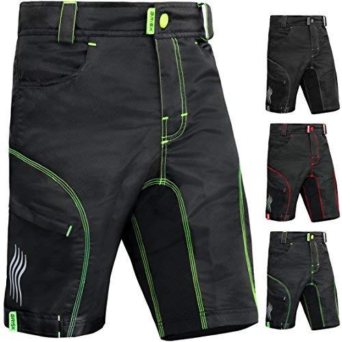 Brisk Bike MTB Shorts Including Padded Inner Shorts (Black/Green, X-Large)