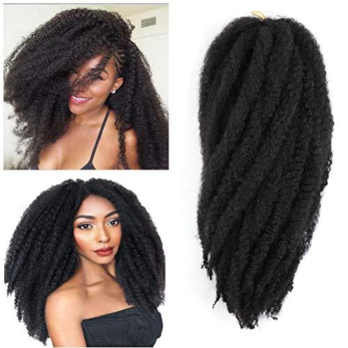"""Cuban Twist Braid Marley Hair For Twists Afro Kinky Marley Braiding Hair 16 Inch Marley Crochet Hair 6packs Marley Braid Hair Marley Twist Hair (16""""-6 Packs, 1B#)"""