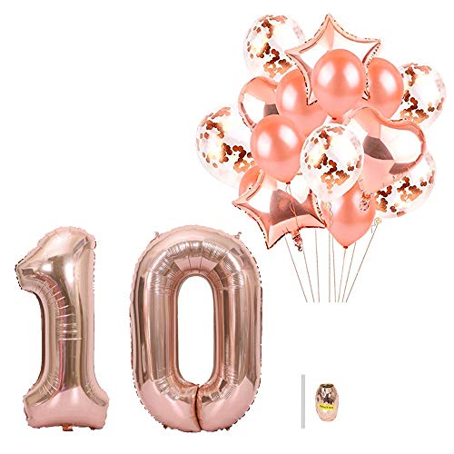 Huture 40 inch Number 10 Balloons Extra Pack of 14 pcs Latex Baloons Confetti Balloon Alumium Foil Star Heart Balloons Great 10th Birthday Party Favors 10 Year Old Party Decor Supplies, Rose Gold