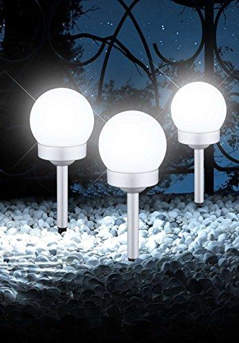 LED Solarlampe mit Erdspieß 3-Teilig Wegelampe Set Solar Außenleuchte Wegbeleuchtung Kugel (Gartenlampe, Solarleuchte, Gartenleuchte, Außenlampe, Höhe 35 cm, Silber)