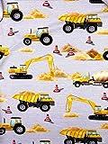 Slantastoffe Jersey Interlock Kinderstoff Bagger Baustelle