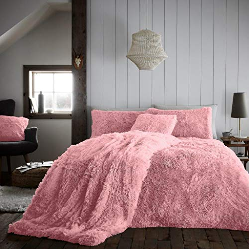 CT Hug and Snug Luxury Fluffy Fur Fleece Duvet Cover Sets Super Soft Warm Cosy Bedding Sets (Blush Pink, King Duvet Set)