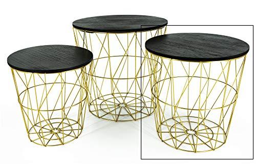 Beistelltisch Tisch mit Stauraum Couchtisch Korb Metall Holz Gold SCHWARZ Nachttisch (Mittel: Ø 34 cm x H 35 cm)