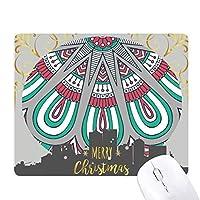 印刷を繰り返して布のカラフルな花びらのアート クリスマスイブのゴムマウスパッド