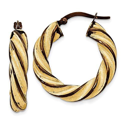 14 Karat und Schokolade, rhodiniert, 5 mm, gedreht,-Ohrringe JewelryWeb