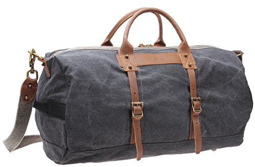 Iblue Canvas Leather Overnight Travel Duffel Weekender Bag For Men #10308 (21.6 inch, grey)