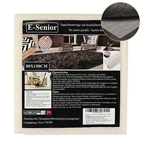 E-Senior Anti Rutsch Teppichunterlage, Teppichunterleger, Haftet ohne zu kleben, Teppichstopper Zuschneidbar DIY, Rutschschutz für Bett Schubladen Tisch Eßgeräte Auto Kofferraummatte (80 x 150CM)