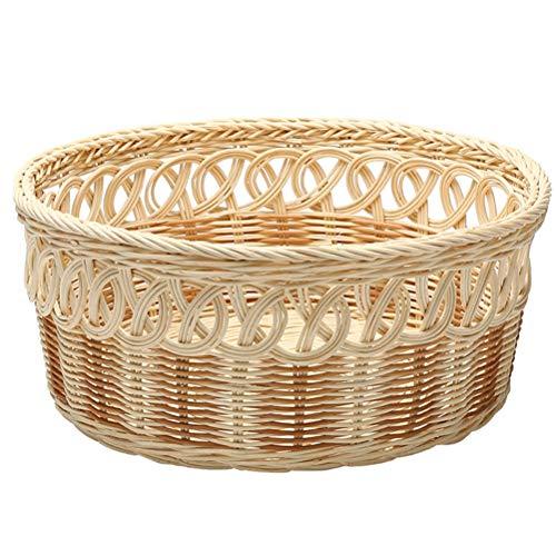 Round Rattan Fruit Basket Hand-woven Wicker Bread Basket Desktop Snacks Dry Goods Basket Kitchen Food Storage Box Frame Flower Basket, Natural Color (Size : Large)