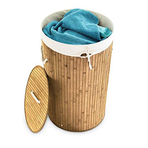Relaxdays Cesto para ropas sucias de bambú, Redondo, Plegable, Estrecho, Con tapa, Capacidad 80 L, Diámetro 41 cm, Natural