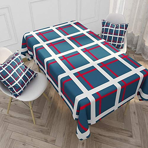 XXDD Mantel a Rayas de cuadrícula Azul Rojo Impermeable y Anti-escaldado Cubierta de Mesa de Comedor Cocina del hogar Mantel Rectangular A8 140x200cm