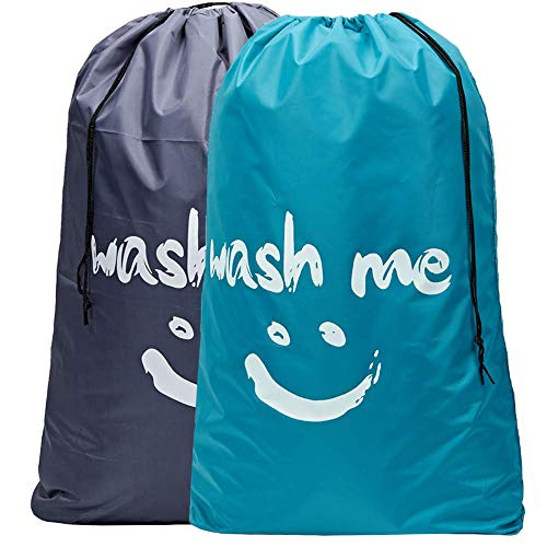 HOMEST 2 Pack XL Wash Me Travel Laundry Bag Machine Washable Dirty Clothes Organizer Large Enough to Hold 4 Loads of Laundry Easy Fit a Laundry Hamper or Basket Light Blue and Grey Patent Design
