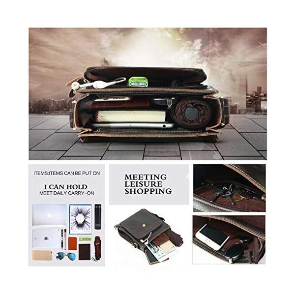51rQsjsYMKL. SS600  - Leathario Bolso de Hombre de Cuero autentico Bandolera de Piel Bolsos de Hombro para Diario con tamaño Mediano de Estilo Retro Vintage Color marrón
