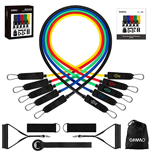 OMMO Resistance Bands Set with Handles,5 Training Tube Resistance Bands for Men Women with Door Anchor, Handles, Waterproof Carry Bag, Ankle Straps for Home Workouts Physical Therapy(100lbs)