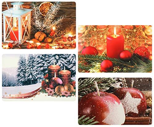 com-four® 4x Platzset für Weihnachten - Tischset für die Küche - Platzmatten mit verschiedenen Motiven - Tischmatten