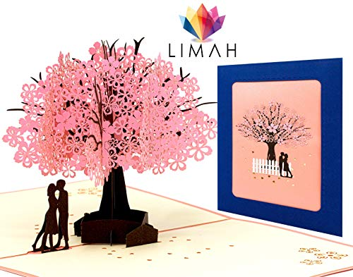 LIMAH® Hochzeitskarte Pop Up 3D Karte Grußkarte für viele Gelegenheiten Valentinstag Hochzeitstag Hochzeit Jahrestag Geburtstag Geschenkkarte Faltkarte