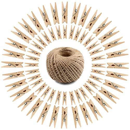 WZYTEU 150 pinzas de madera, mini clavijas naturales para manualidades, decoración y tarjetas de fotos, con cordel de yute de 30 m (tamaño: 4,5 x 1 x 0,7 cm, 3,5 x 0,9 x 0,7 cm)