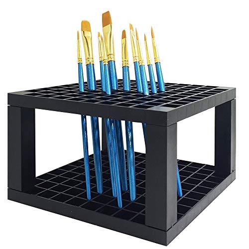 FineGood Tenedor del lápiz de 96 Agujeros con 10 Pinceles, Organizador del almacenaje del Soporte del Escritorio de la Pluma plástica, con 10 Pinceles Puntiagudos Redondos de la Punta del Pelo
