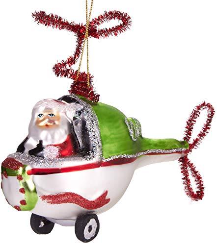 Brubaker Babbo Natale in Elicottero Verde - Palla di Natale in Vetro Dipinto a Mano - Bocca Soffiata Decorazione Dell'Albero di Natale Figure Buffo Ciondolo Decorazione Albero Palla - 11 cm