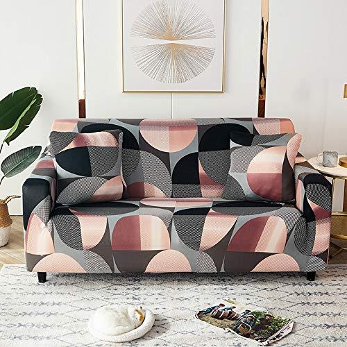 WXQY Fundas de celosía geométrica Funda de sofá elástica Funda de sofá de protección para Mascotas Funda de sofá con Esquina en Forma de L Funda de sofá Todo Incluido A8 4 plazas