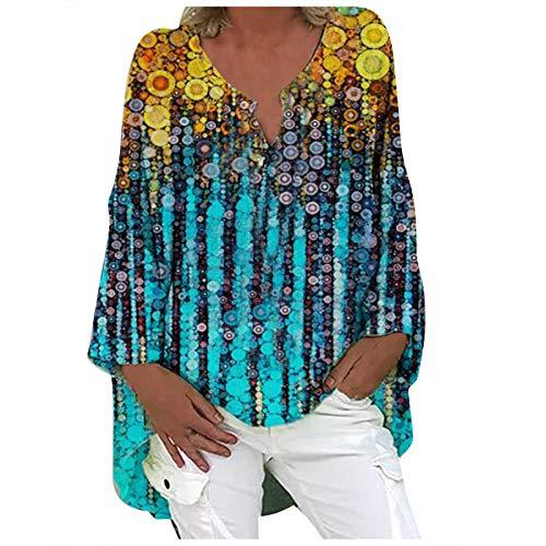 Camisas de lino de algodón para mujer de alta baja túnica con mangas con cuello en V con estampado floral de verano casual blusa suelta Tops más tamaño, Camiseta sin mangas para mujer, 3XL, 3- R8 azul