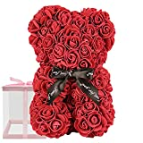Rose Bear, Rose Teddy Bear, Used for Mother's Day, Valentine's Day, Christmas, Birthday Gifts, Bridal Gifts, Field Party Decoration Roses, Including 10 inch Transparent Gift Box (Wine Red)