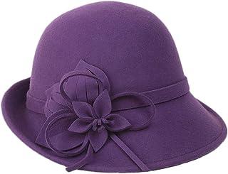 b084f3ce6273a BAIMORE100% Wool Vintage Felt Cloche Bucket Bowler Hat Winter Women Church Bowler  Hats