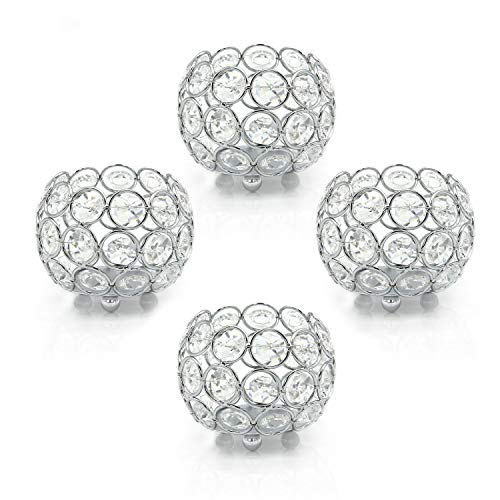 VINCIGANT Crystal Tea Light Candle Holders,Votive Candle Holder,Set of 4 for Wedding,Home,Table Centerpiece Decoration Silver(Candle Excluded)