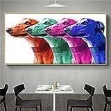 Obra de arte Divertido colorido Perro Lienzo Pintura Galgo Animal Pop Arte de la pared Carteles e impresiones Cuadro de pintura Decoración para el hogar 30x55cm (12x22in) Sin marco