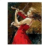 Pintura pintura por números para adultos Niña toca el violín para adultos y principiantes de dibujo con pinceles-40x50cm / sin marco
