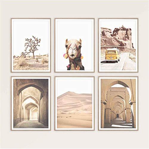 Woestijn cactus canvas poster Nordic stijl landschap Marokkaanse deur Alpaca muurkunst print schilderijen decoratieve afbeeldingen wooncultuur 30x40cmx6 niet ingelijst