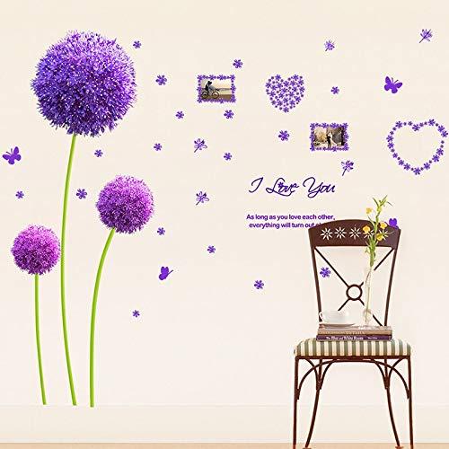 Pegatinas de pared de diente de león púrpura plantas de flores de...