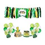 Amosfun Kit de decoración para fiesta de cumpleaños con diseño de animales de la jungla, para bebé, con tiara y corona, decoración para tartas, trona, pancartas, confeti, globos