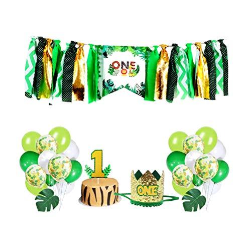 Amosfun Dschungel Safari Baby 1. Geburtstag Party Dekoration Kit mit Geburtstag Tiara Krone EIN Kuchen Topper Hochstuhl Banner Konfetti Luftballons