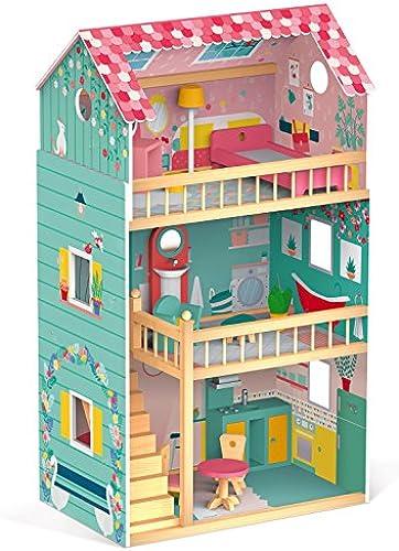 woodienchen - Janod - Holzspielzeug Puppenhaus Holzpuppenhaus Maxi Happy Day mit M l, 60,8 x 37,9 x 105,3 cm, Mehrfarbig