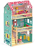 woodienchen Janod Wooden Toy Doll House Wooden Dolls House Furniture, 60.8x 37,9Maxi Happy Day X 105,3cm, Multi