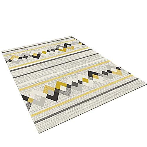 LIGHTOP Plaid Gestreifter Teppich Wohnzimmer Einfacher und Moderner Art Schlafzimmer Bett Haus waschbarer Teppich Rutschfeste rechteckige Wolldecken Sofa-Kaffee-Tabellen Teppich(Größe : 80x120cm)