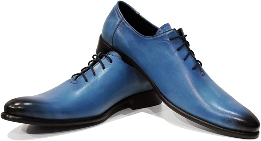 Modello Lungo - Handmade Italian Mens Color Blue Oxfords Dress Shoes - Cowhide Hand Painted Leather - Lace-Up